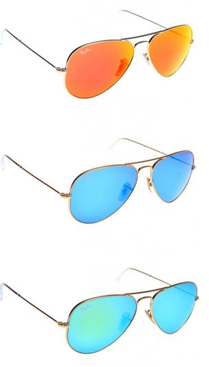 ray ban aviator blauwe glazen